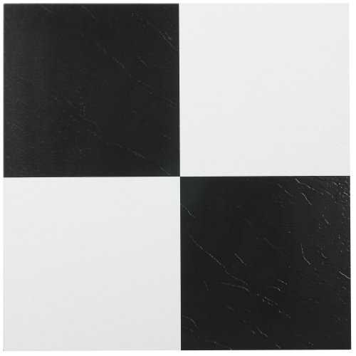Nexus Black and White 12 x 12-Inch Self Adhesive Vinyl Floor Tile by Achim Home