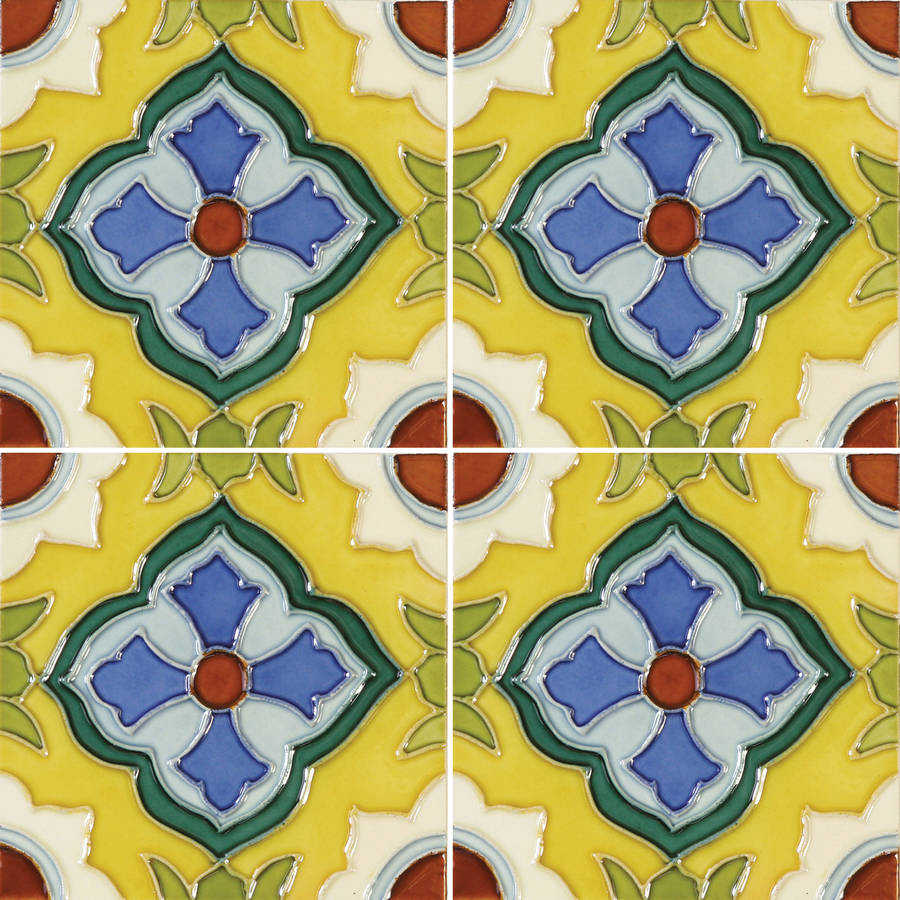 Solistone Laguna 6' x 6' Hand-Painted Ceramic Deco Wall Tile (Price per Case of 10)