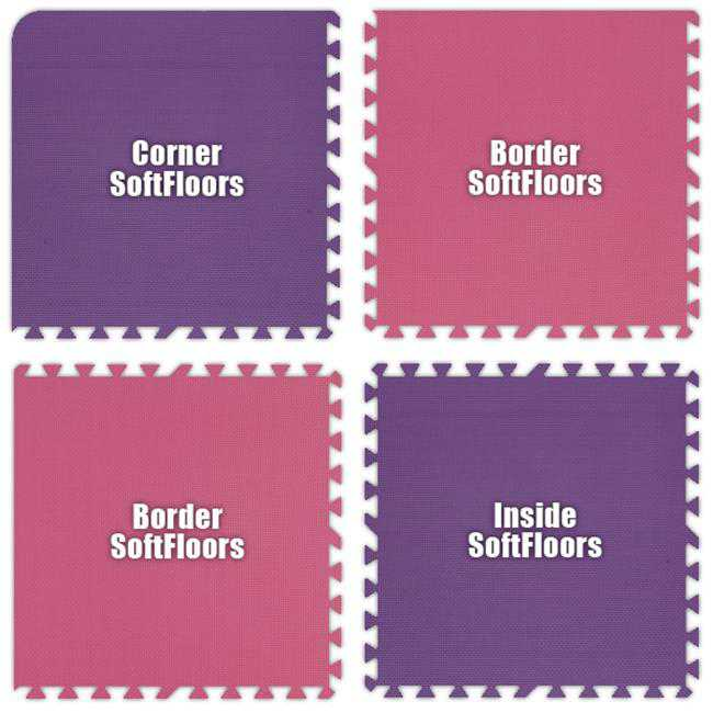Alessco SFPEPK1438 SoftFloors -Purple & Pink Checkerboard -14 x 38 Set